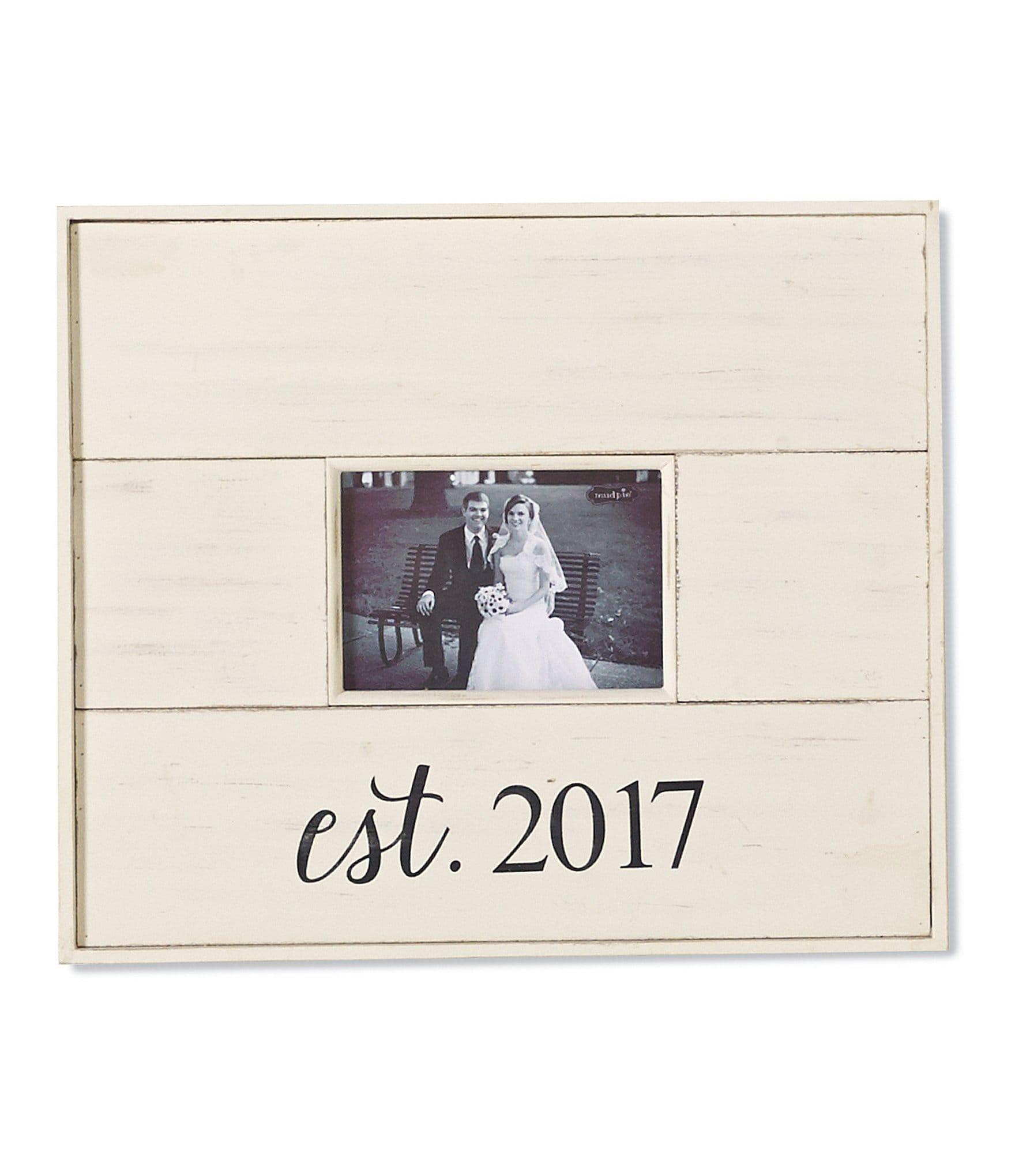 Dillard S Wedding Registry: Mud Pie Wedding Collection Est. 2017 Distressed Wood Frame