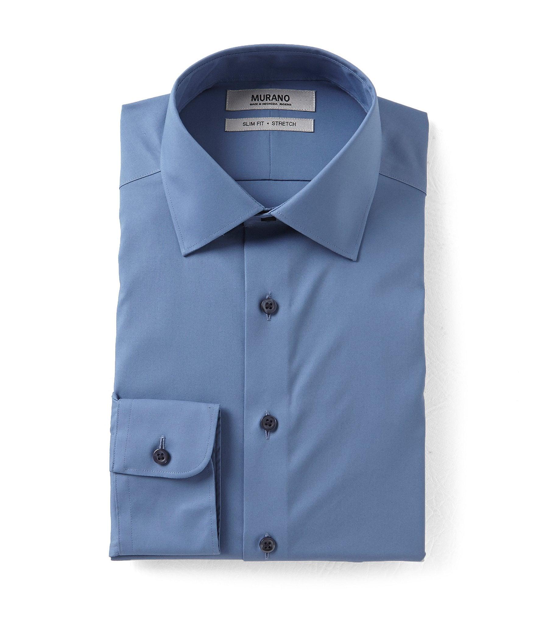 Murano slim fit spread collar dress shirt dillards for Dress shirt collar fit