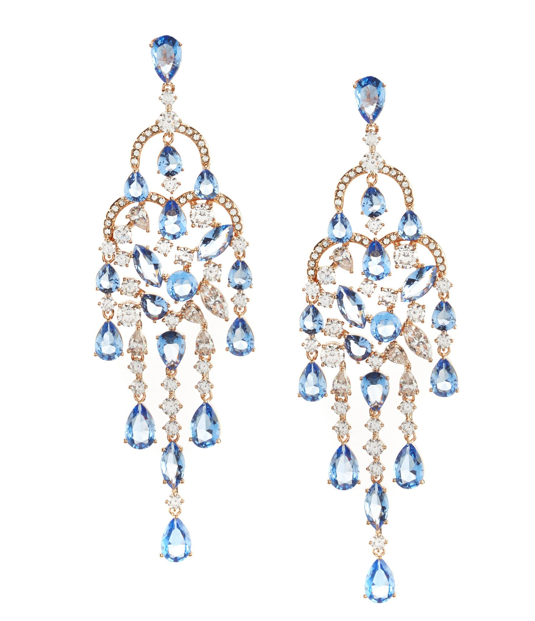 Nadri Blue Chandelier Statement Earrings