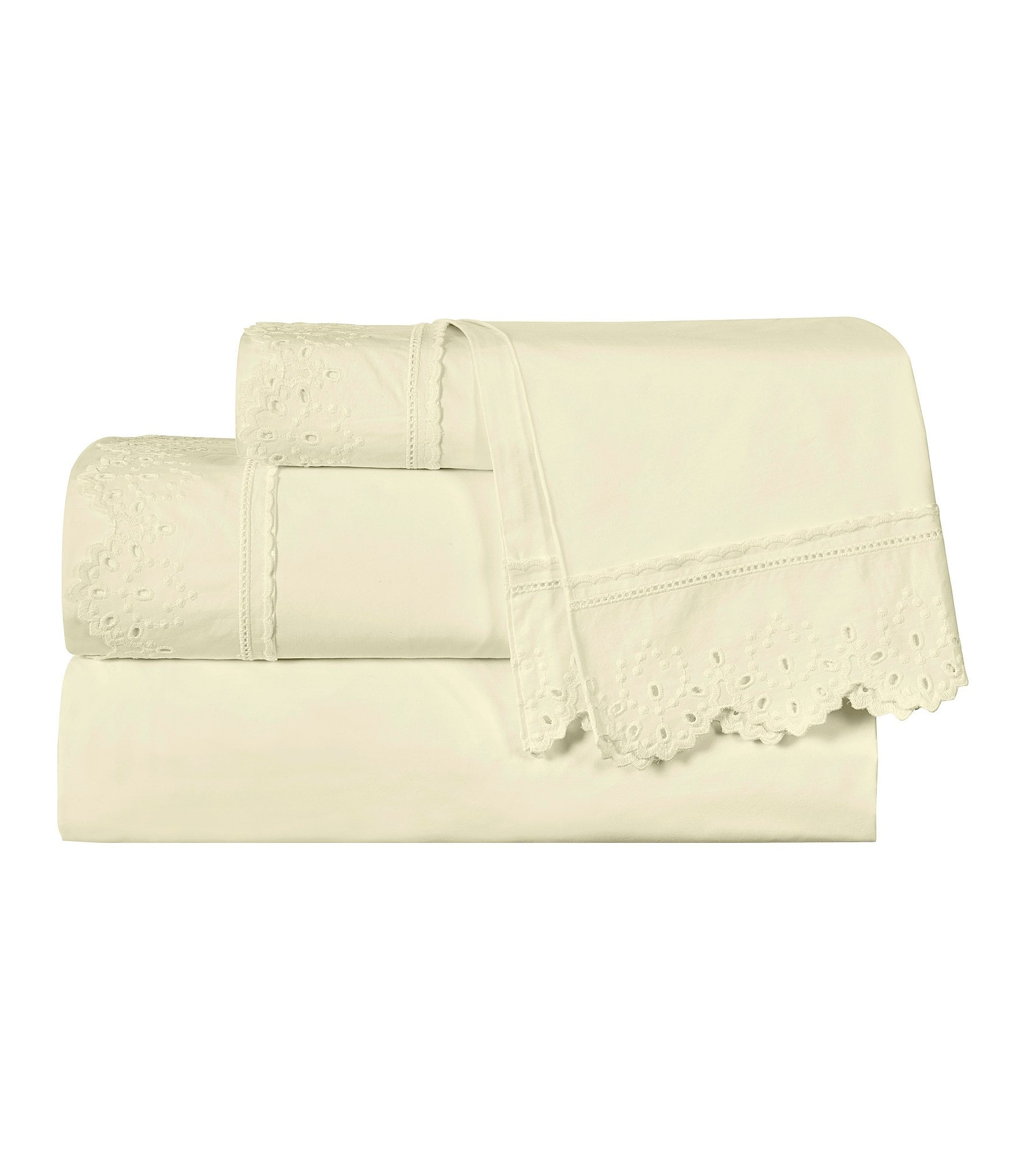 Piper Amp Wright Lucy Eyelet Embroidered Cotton Sateen Sheet