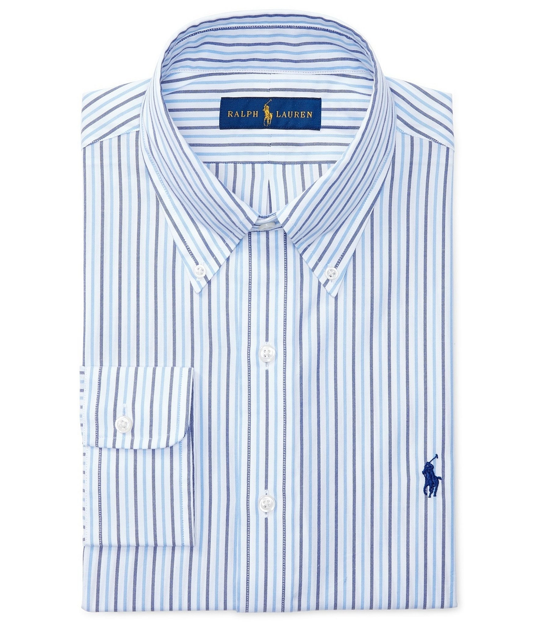 Polo ralph lauren fitted classic fit button down collar for Dress shirt collar fit