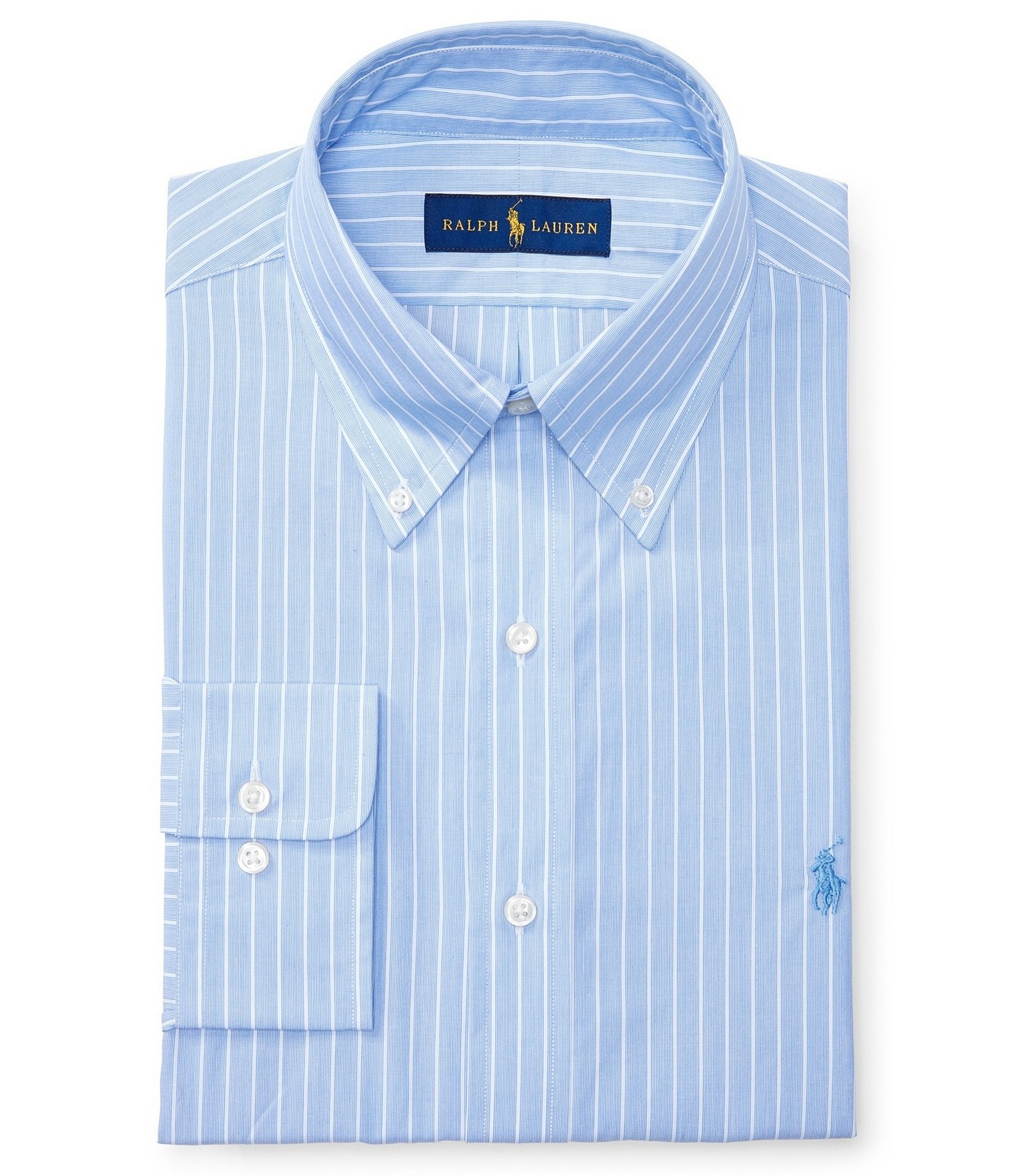 Polo ralph lauren striped fitted classic fit button down for Button down collar dress shirts