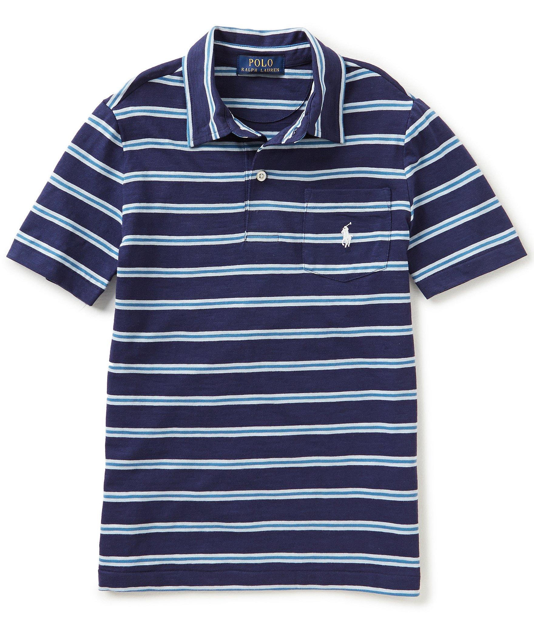 Ralph lauren childrenswear big boys 8 20 striped short for Boys striped polo shirts