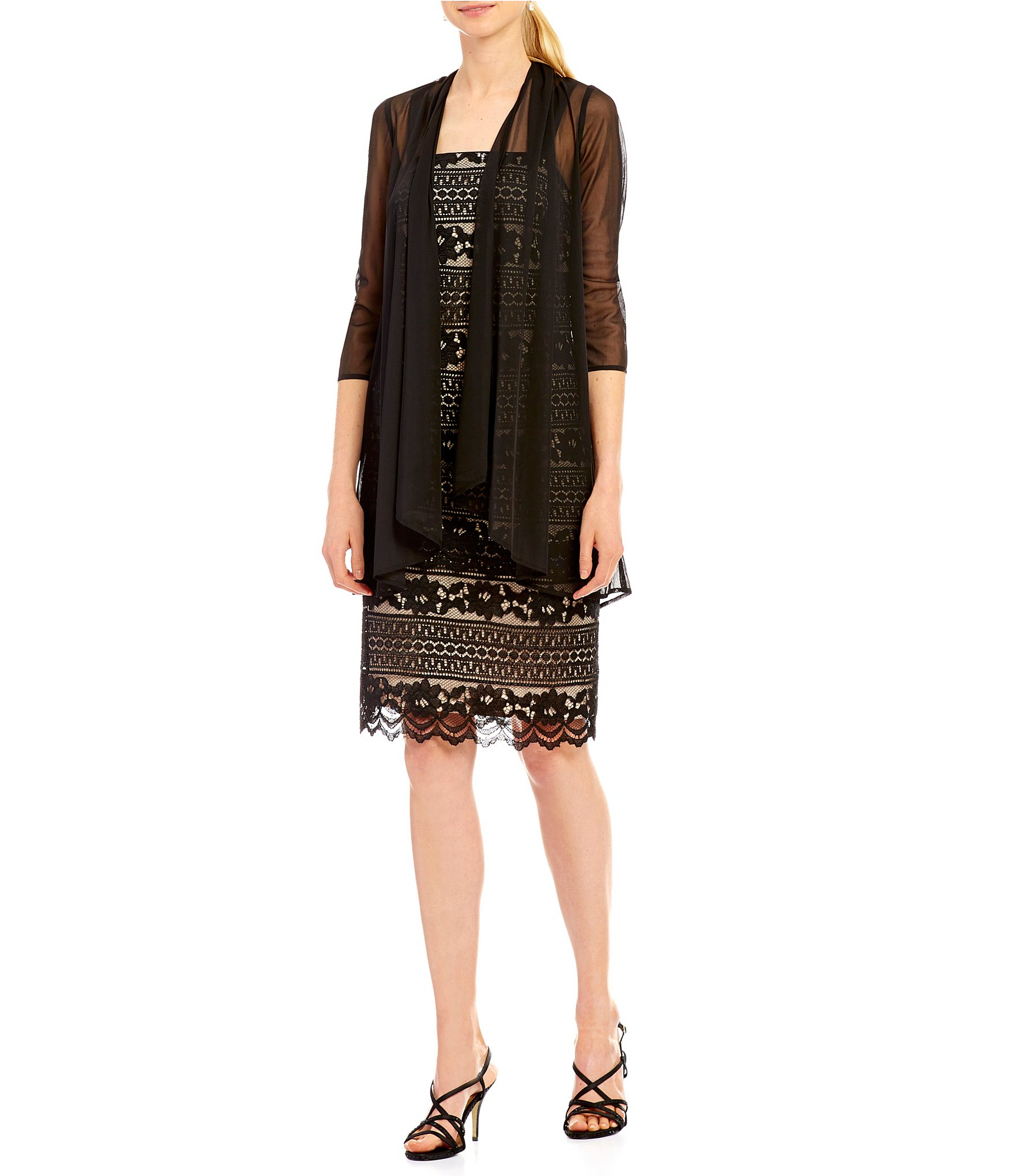 Km collections lace jacket dress sapphire