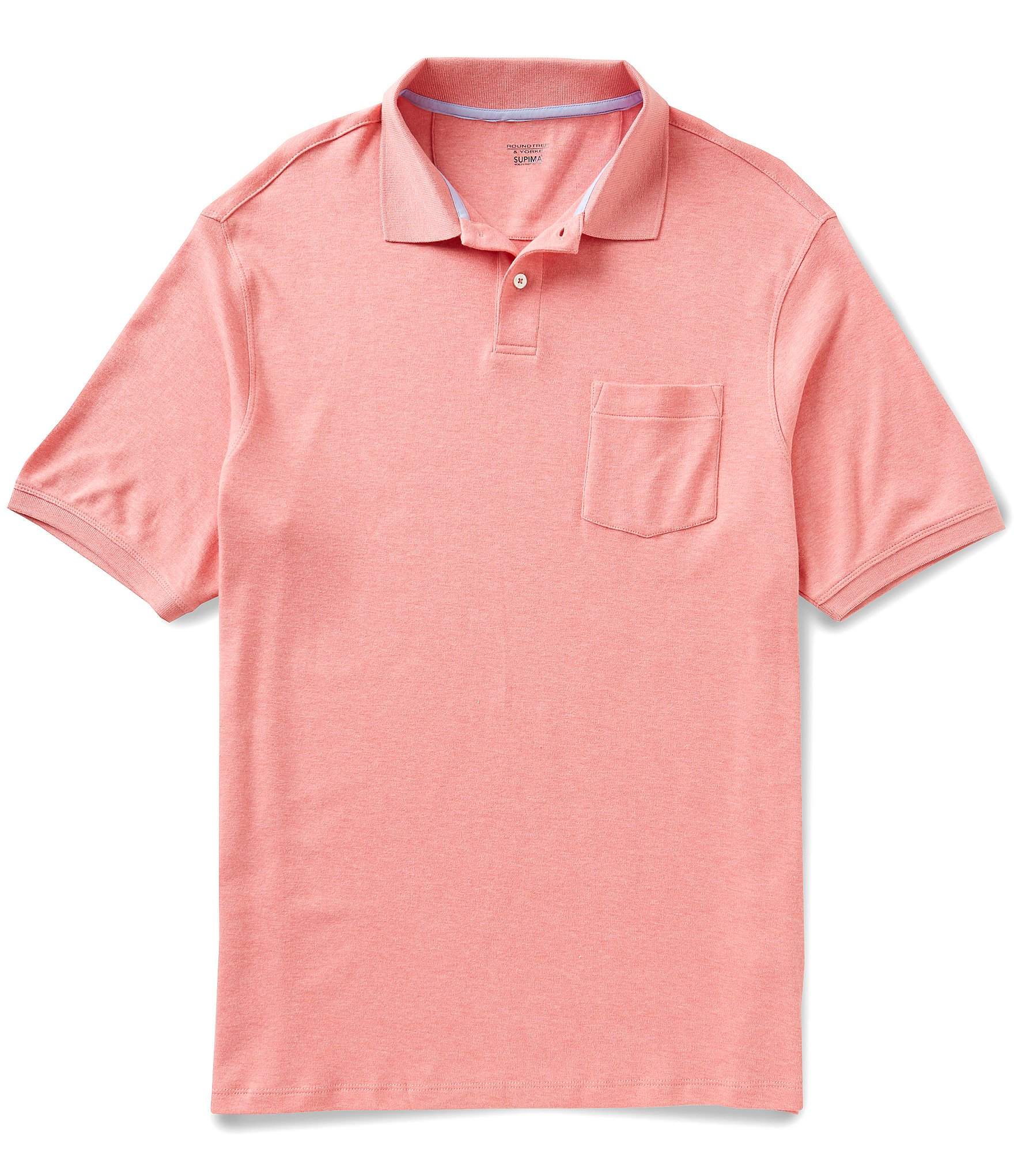 Roundtree yorke big tall supima short sleeve solid for Big and tall polo shirts with pockets