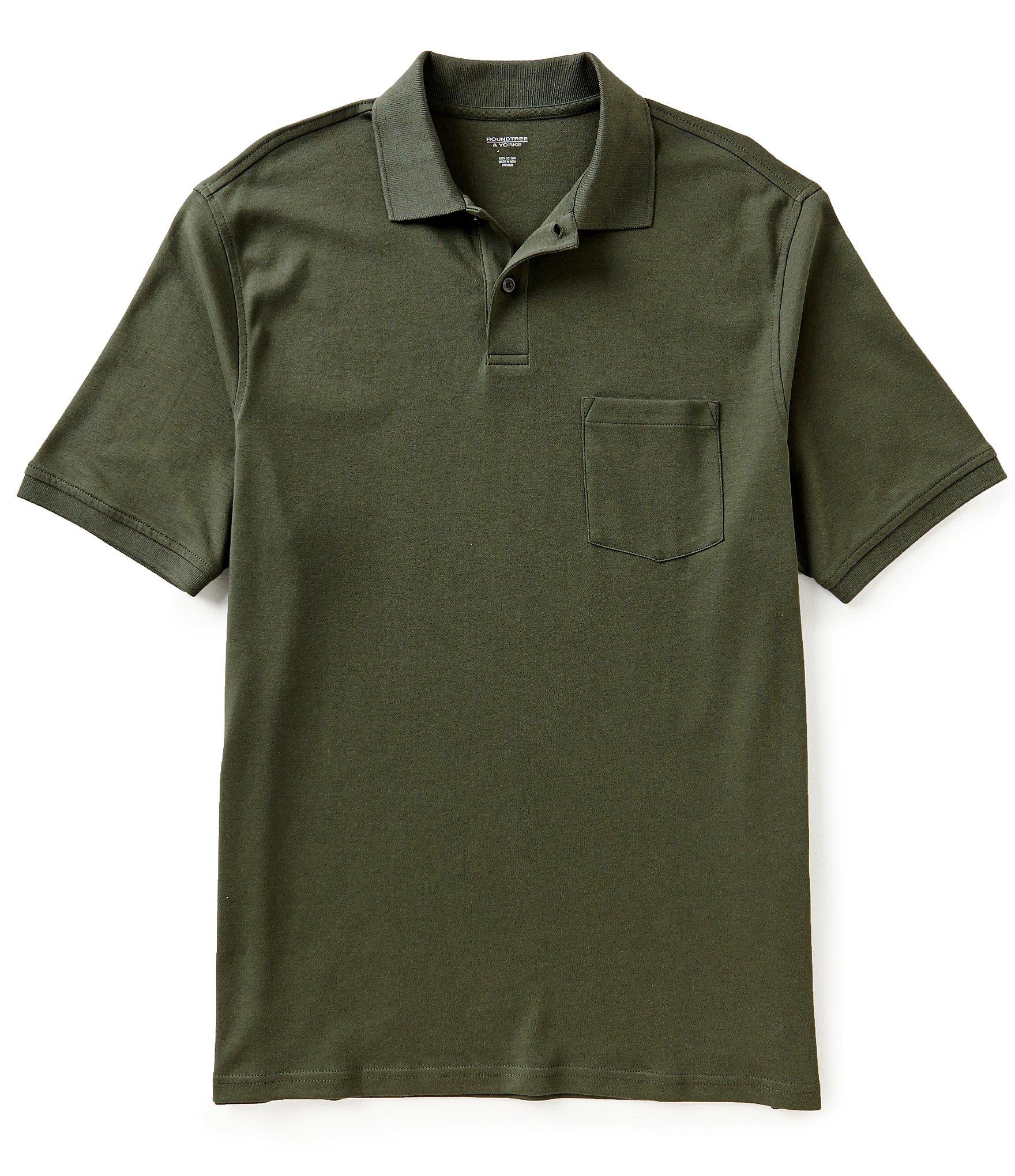 Roundtree yorke silky finish short sleeve solid polo for Short sleeve polo shirt with pocket