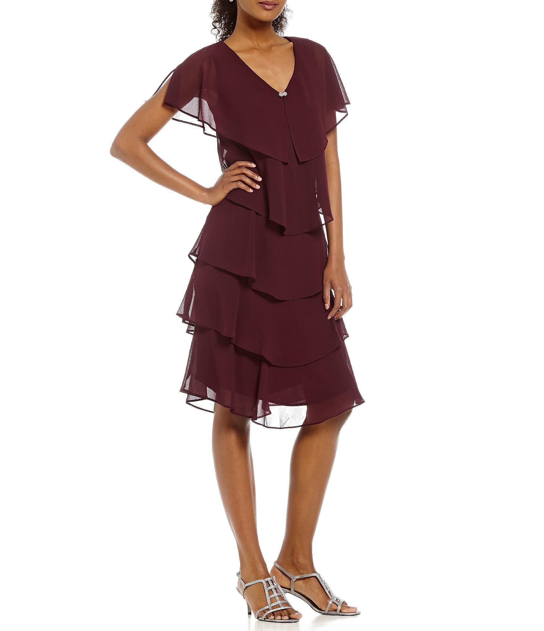 S L Fashions Georgette Tiered Capelet Dress Dillards