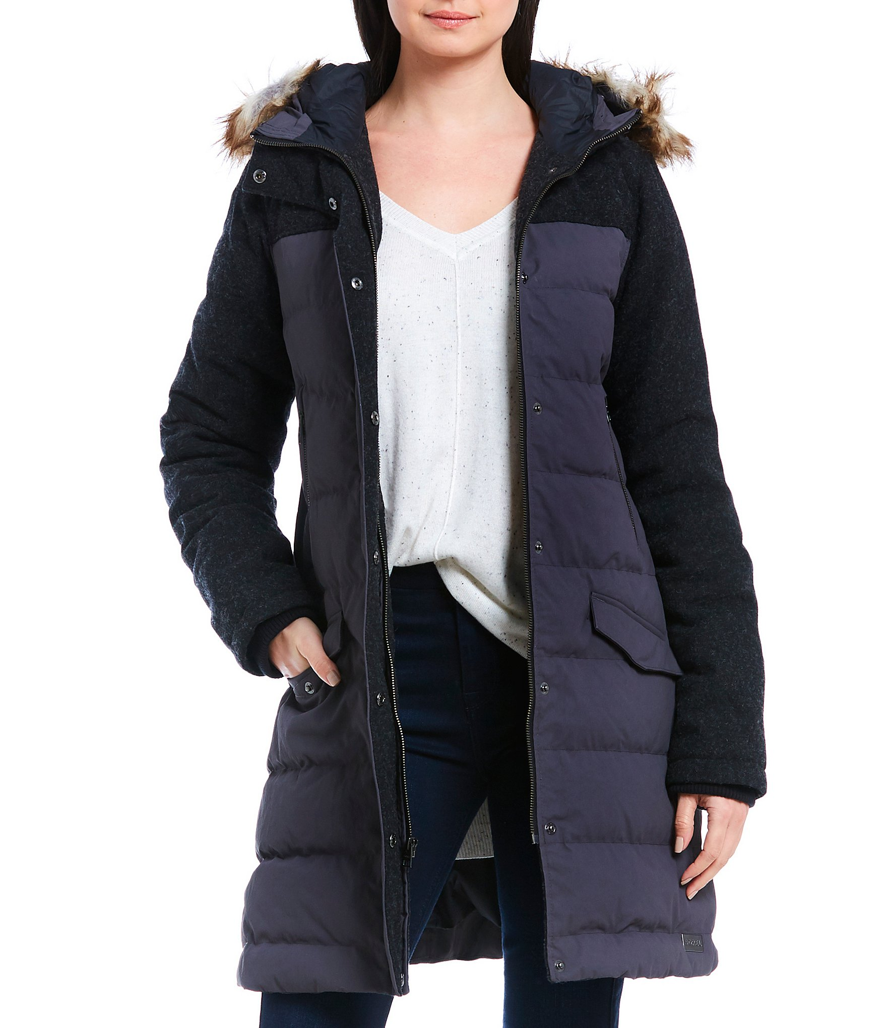 Green long quilted coat