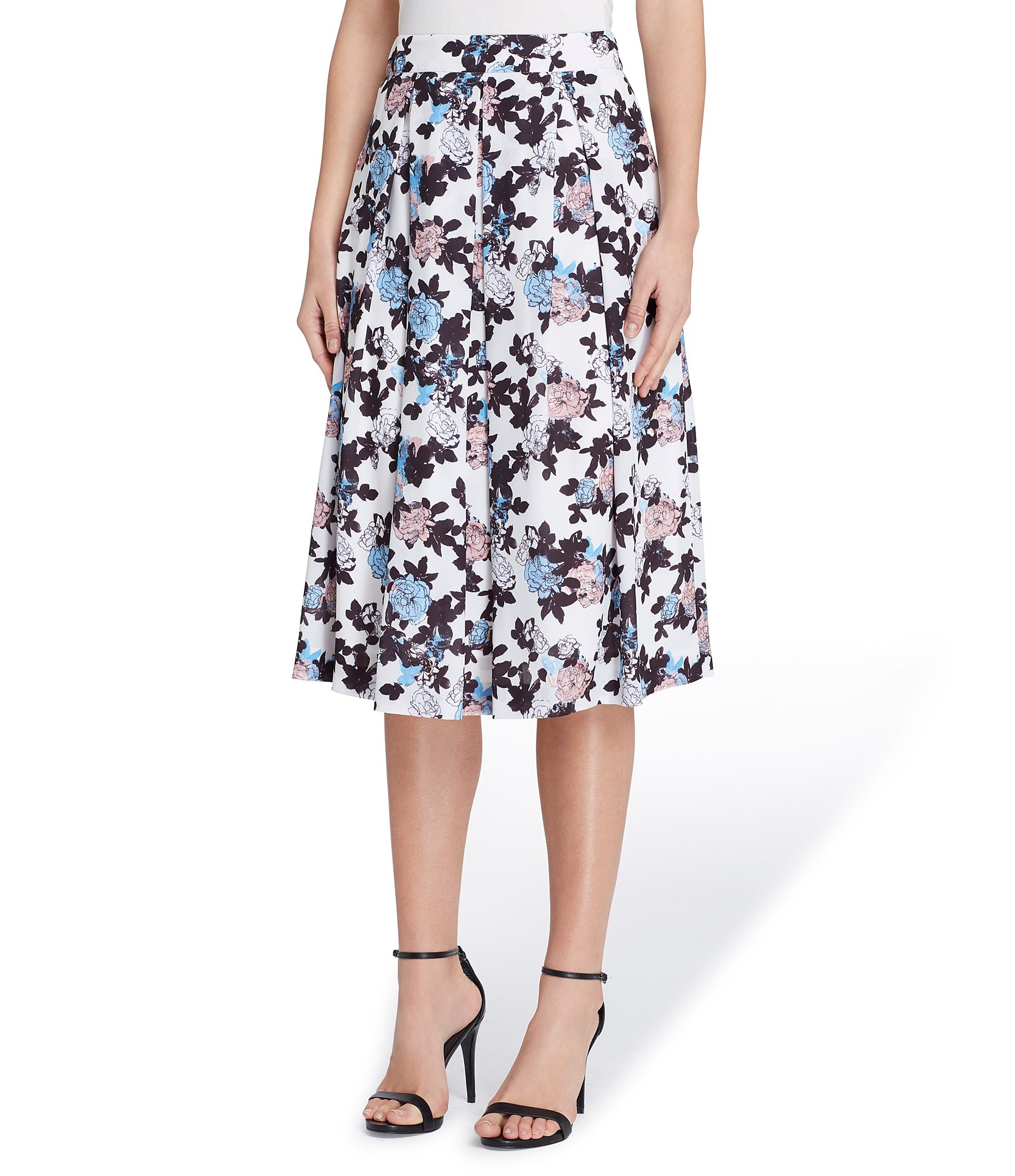 a1bb2c1462c Antonio Melani Bliss Floral Print Pleated Poplin Midi Skirt