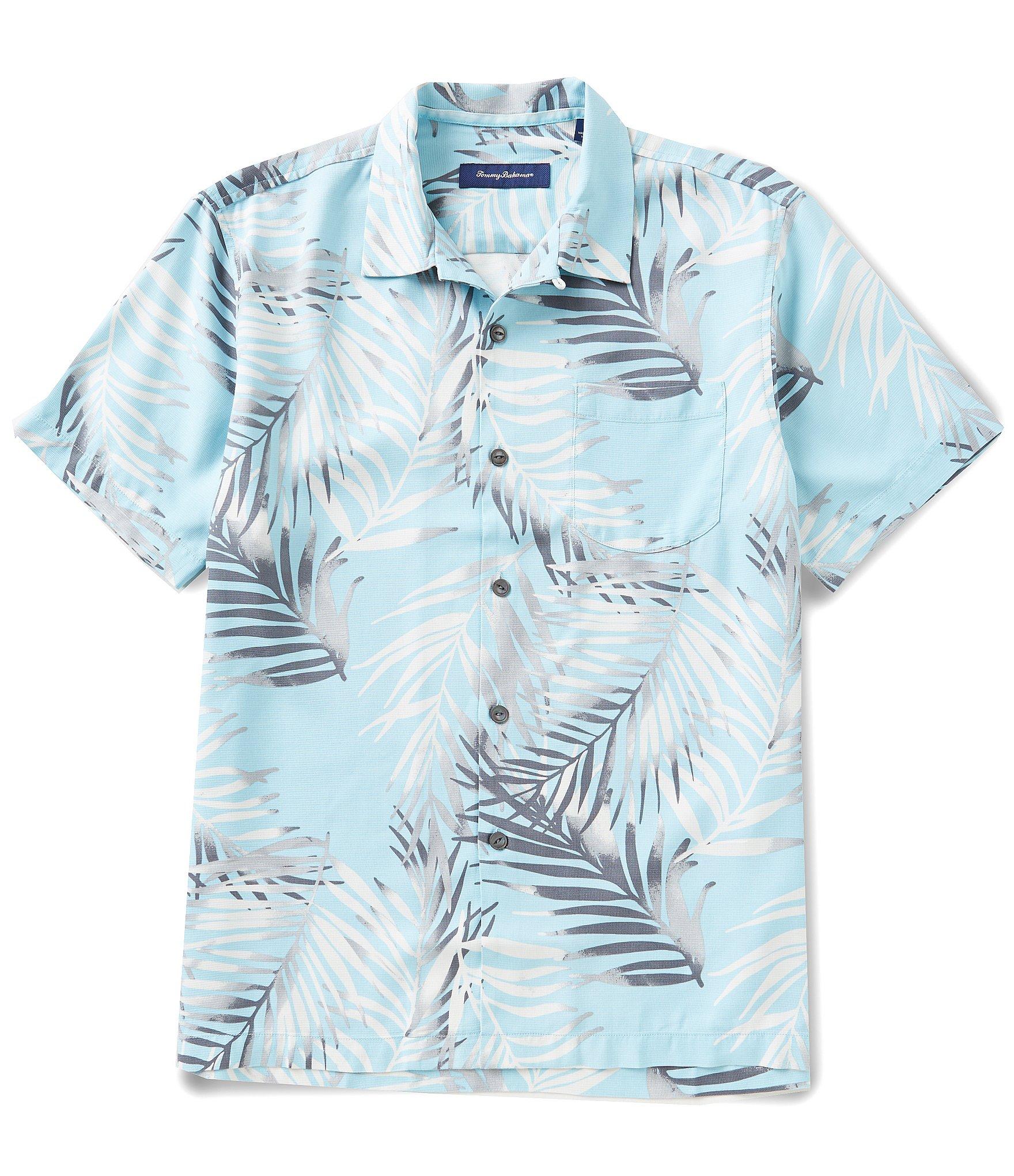 Tommy bahama beyond frond short sleeve woven silk shirt for Silk short sleeve shirt