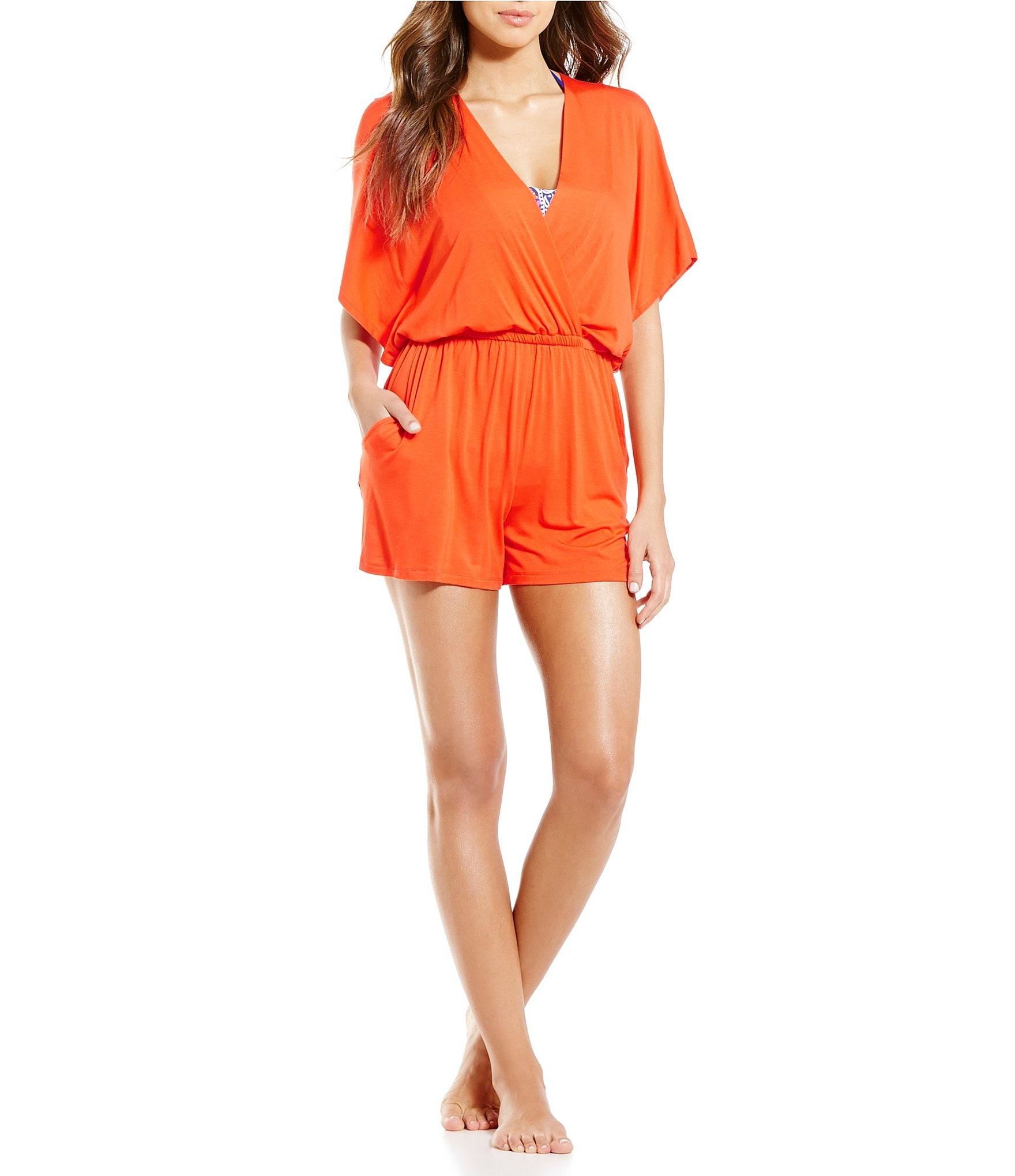 da90e4c8b04 Trina Turk Gypsy Jersey Kimono-Sleeve Romper Cover-Up