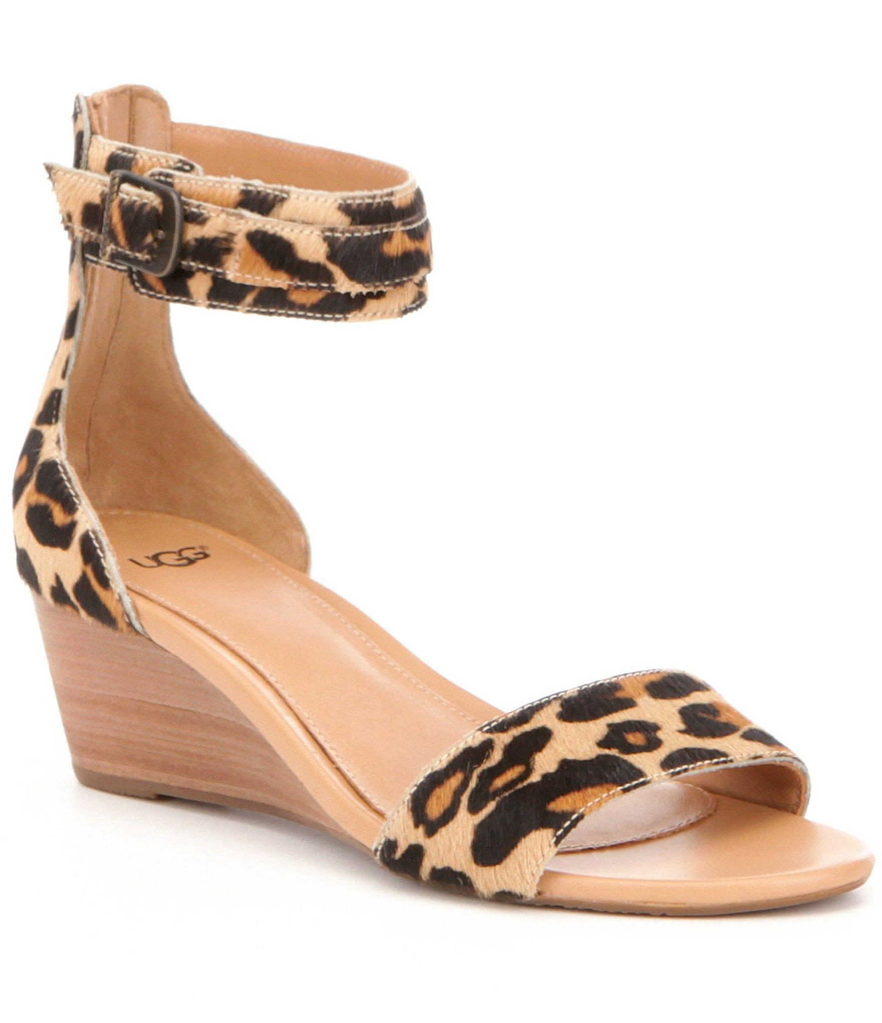 Ugg 174 Char Leopard Calf Hair Wedge Sandals Dillards