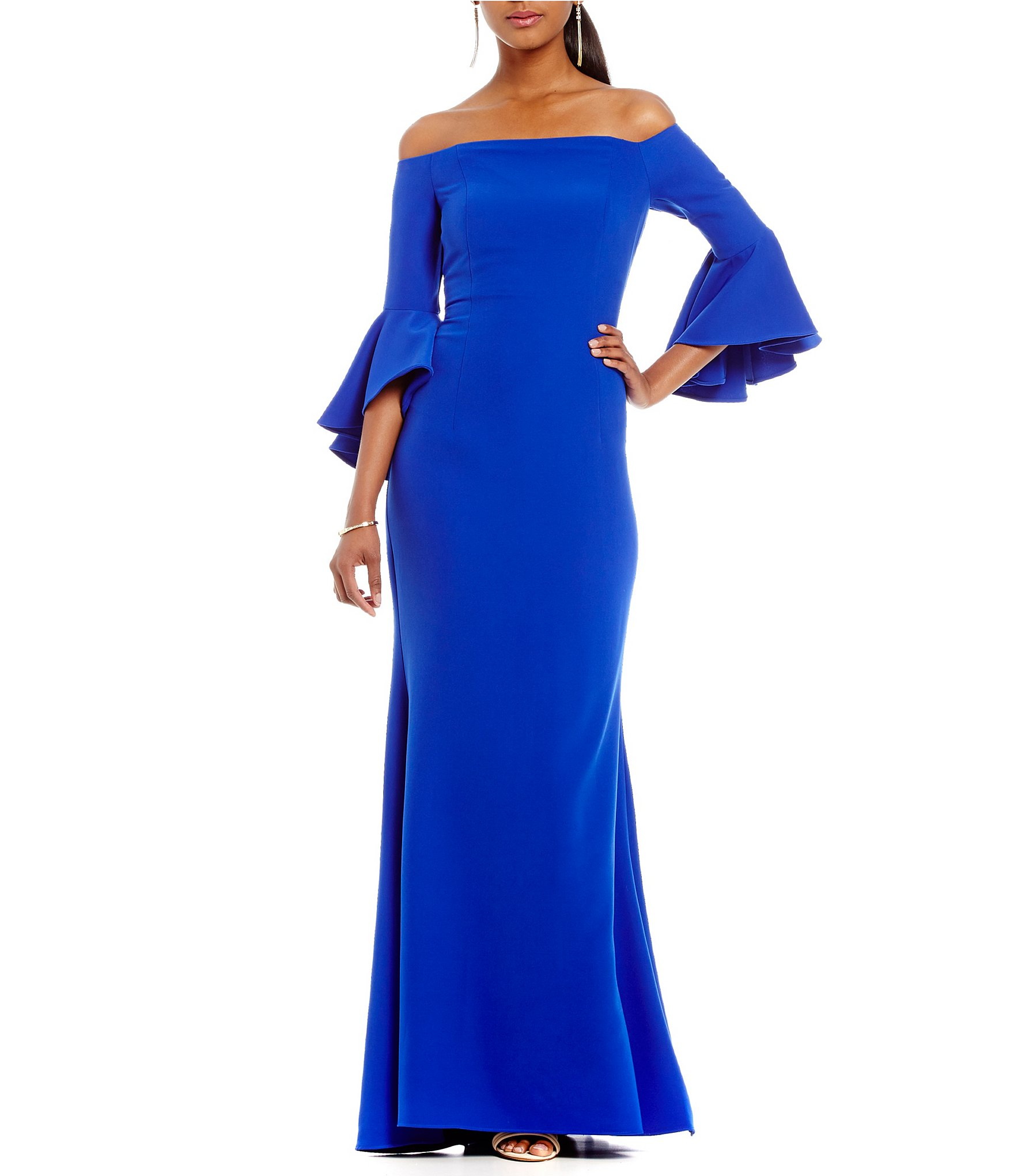 Vince Camuto Off-The-Shoulder Bell Sleeve Gown