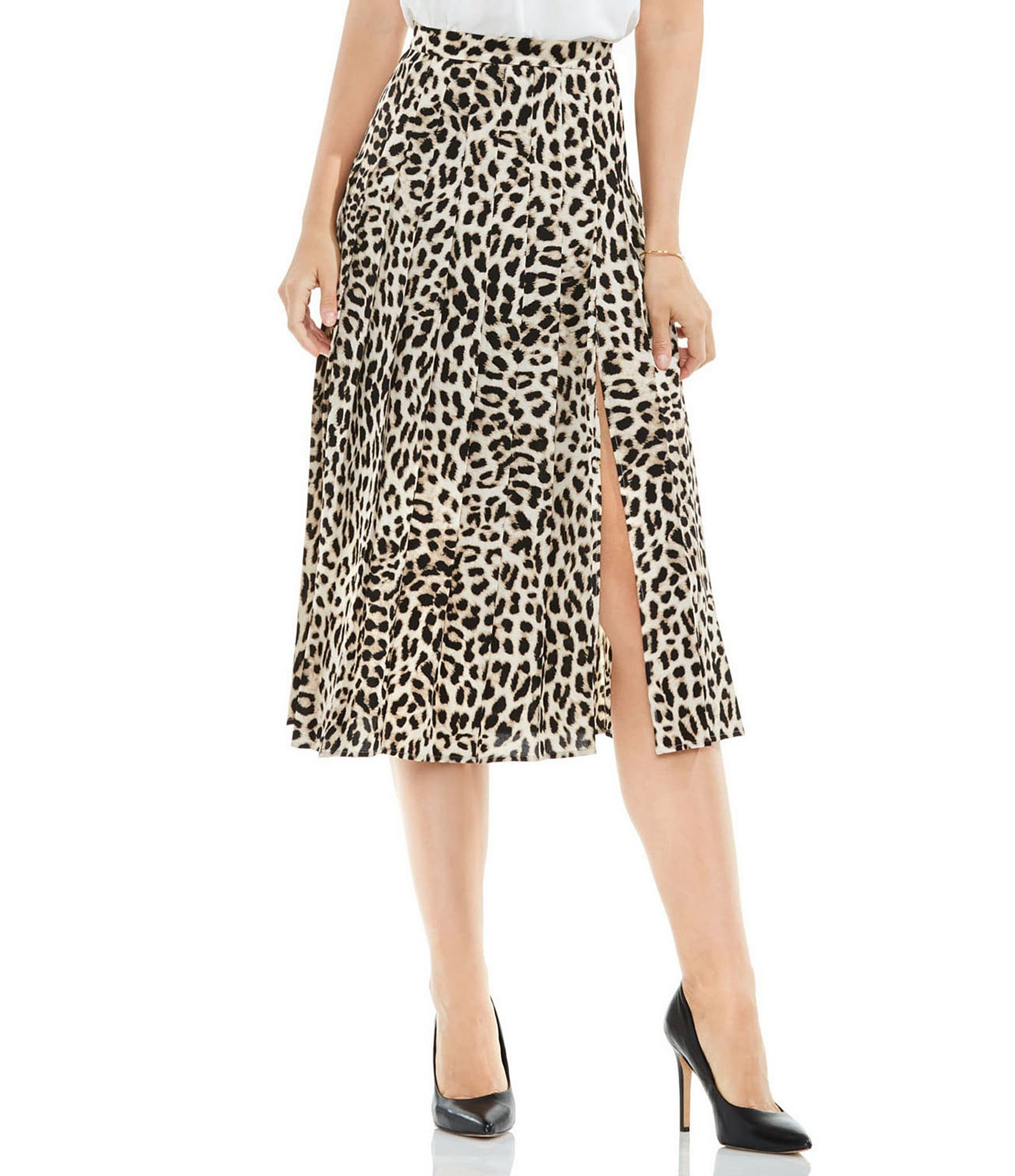 vince camuto pleated leopard song midi skirt dillards