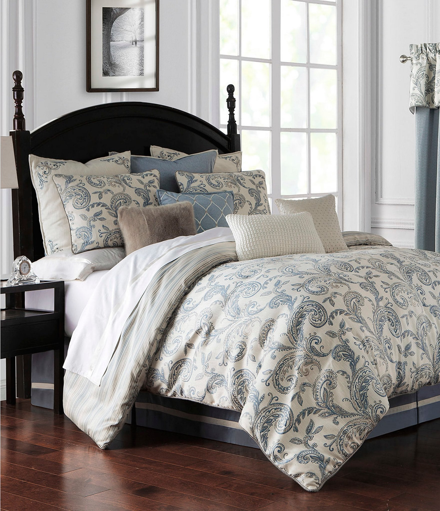 com stripe blue set home comforter king amazon chaps kitchen damask dp
