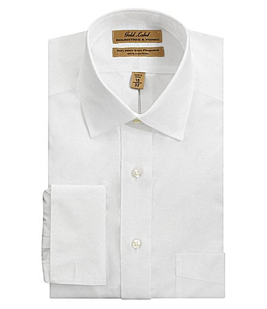 Roundtree & Yorke Gold Label No-Iron Spread Collar French-Cuff Dress Shirt