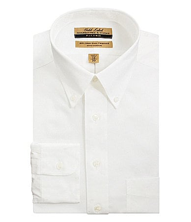 Roundtree & Yorke Gold Label Fitted Button-Down-Collar Dress Shirt