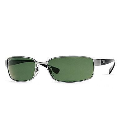 Ray-Ban Metal Rectangular Wrap Sunglasses