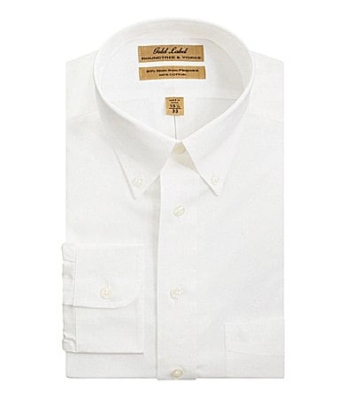 Roundtree & Yorke Gold Label Big & Tall No-Iron Solid Button-Down-Collar Dress Shirt