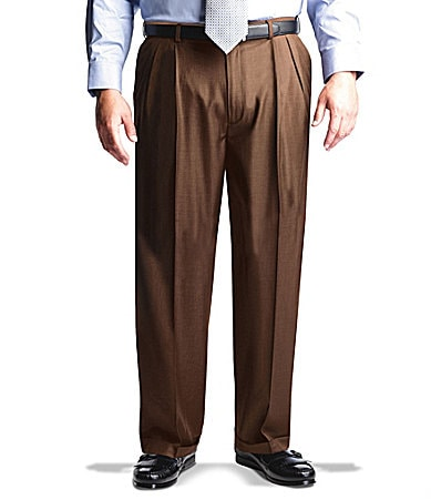 Roundtree & Yorke Big & Tall Expander Easy-Care Double-Pleated Pants