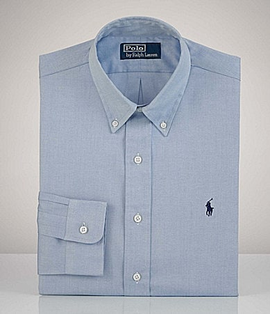 Polo Ralph Lauren Button-Down-Collar Pinpoint Classic-Fit Dress Shirt
