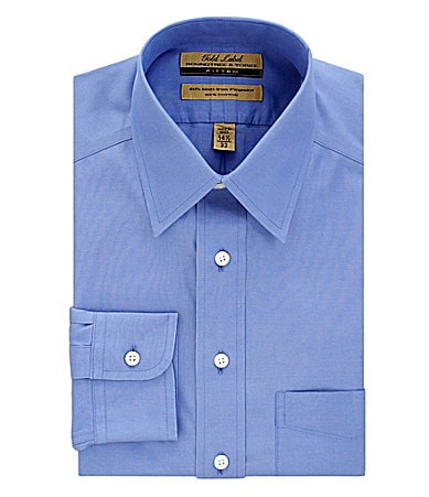 Roundtree & Yorke Gold Label No-Iron Point-Collar Fitted Dress Shirt