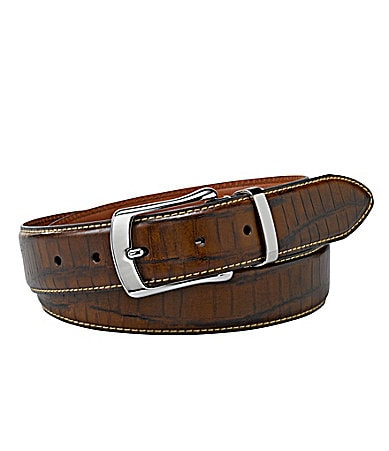 Cremieux Croco Embossed Leather Belt