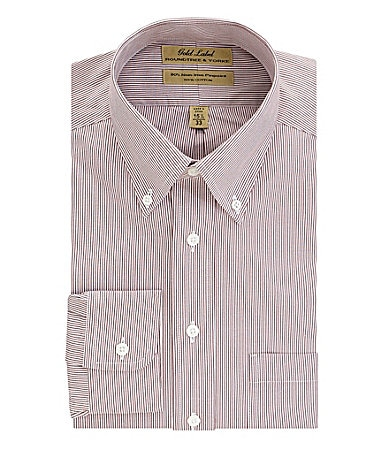 Roundtree & Yorke Gold Label No-Iron Fine-Line Buttondown-Collar Dress Shirt