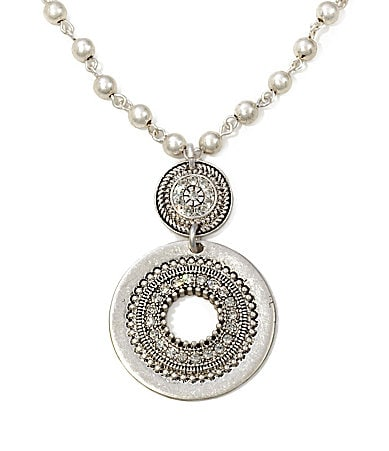 Jessica Simpson Silvertone Crystal Medallion Necklace