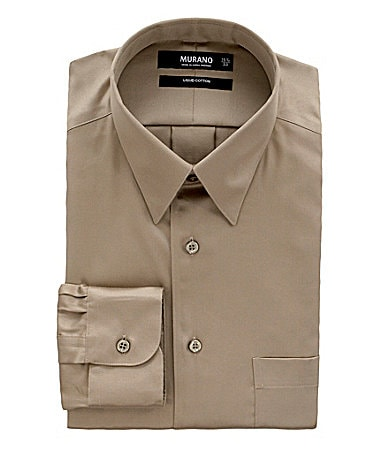 Murano Solid Point-Collar Liquid Cotton Dress Shirt