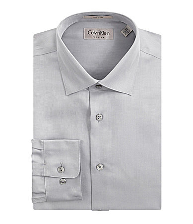 Calvin Klein Textured Spread-Collar Dress Shirt