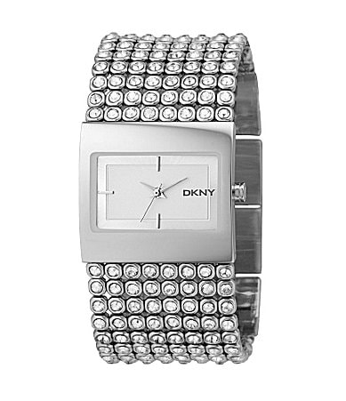 DKNY Crystal-Detail Mesh-Bracelet Watch