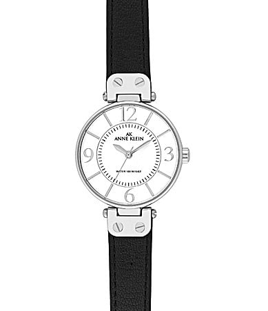 Anne Klein White-Dial Black-Strap Watch
