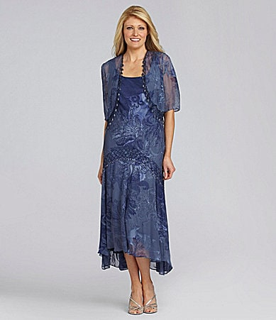 Alex Evenings Chiffon Burnout Jacket Dress