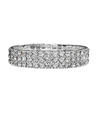 Cezanne Three-Row Crystal Stretch Bracelet