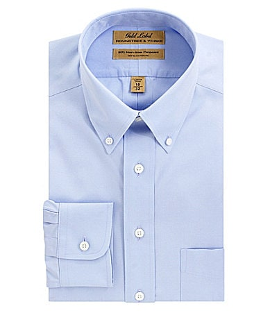 Roundtree & Yorke Gold Label No-Iron Button-Down-Collar Dress Shirt