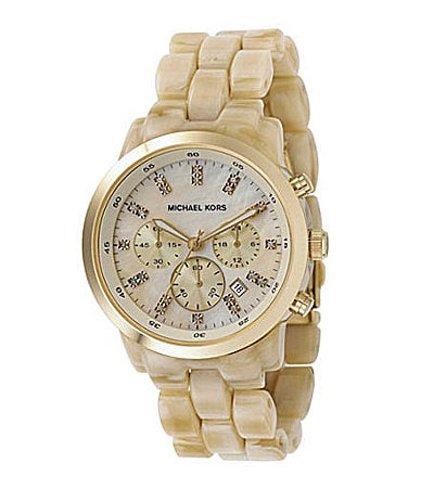 Michael Kors Women�s Oversize Showstopper Faux-Horn Chronograph Watch