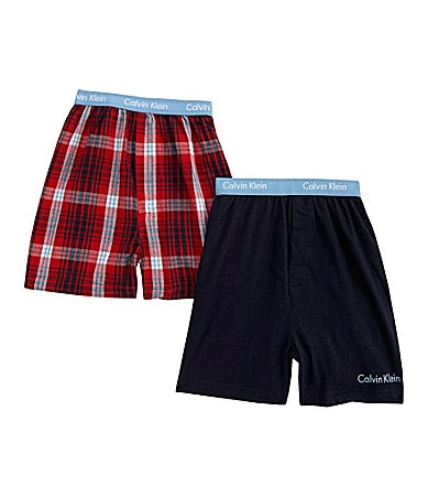 Calvin Klein Plaid & Solid Boxers 2-Pack