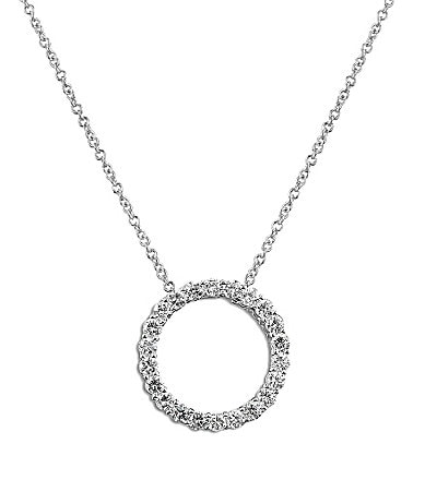 Crislu Cubic Zirconia Circle Pendant Necklace