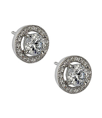 Crislu Round CZ Pave Stud Earrings