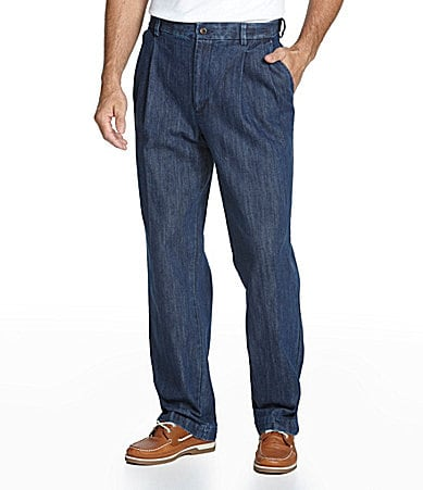 Roundtree & Yorke Pleated Expander Denim Pants
