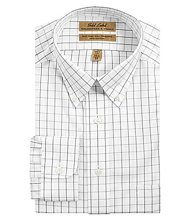 Roundtree & Yorke Gold Label Windowpane Buttondown-Collar Dress Shirt