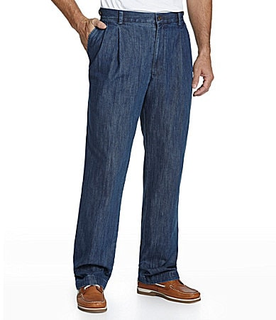 Roundtree & Yorke Big & Tall Pleated Side-Elastic Denim Pants