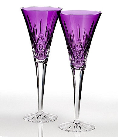 Waterford Lismore Jewels Amethyst Flute Pair
