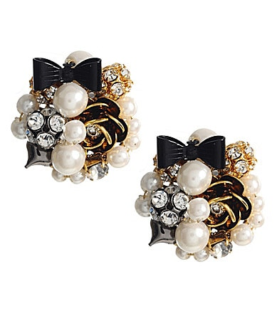 Betsey Johnson Iconic Multi-Bead Pearl Button Stud Earrings