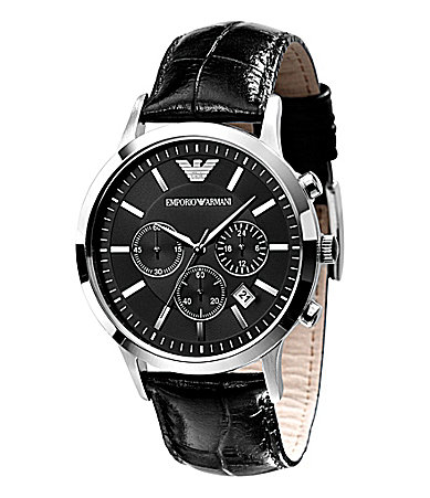 Emporio Armani Classic Black Leather-Strap Chronograph Watch