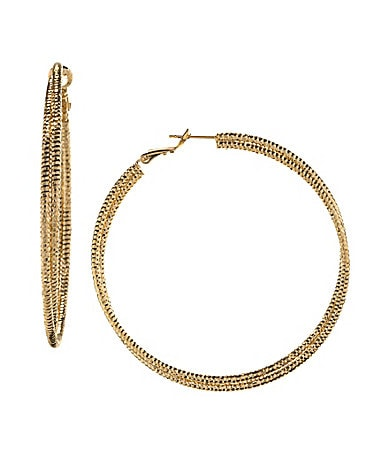 Natasha Accessories Etched Hoop Earrings