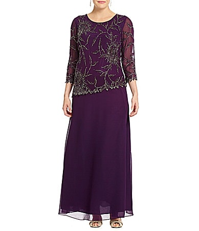 Jkara Woman Beaded Chiffon Gown