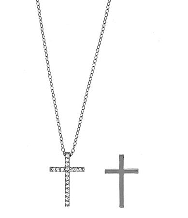 Dillard's Sterling Collection Pave-Cross Pendant Necklace