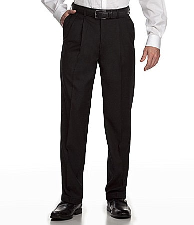 Roundtree & Yorke Pleated Gabardine Twill Dress Pants